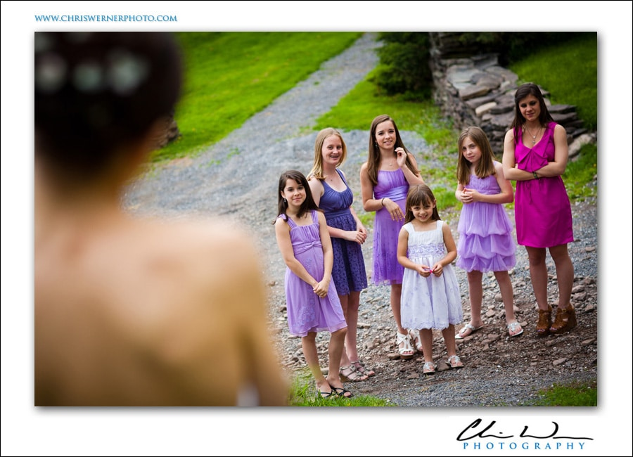 Flower girls behind the bride, Upstate New York Wedding.