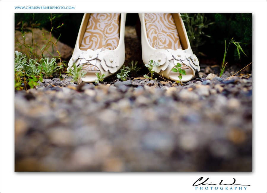 bride's wedding shoes by a Mammoth Wedding Photographer.