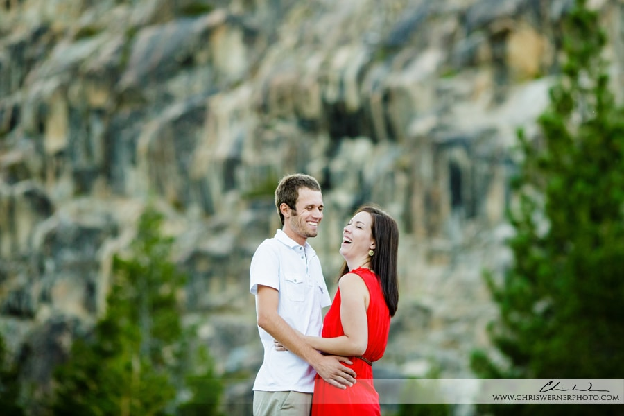 Bride and groom laughing during their Tahoe engagement pictures.
