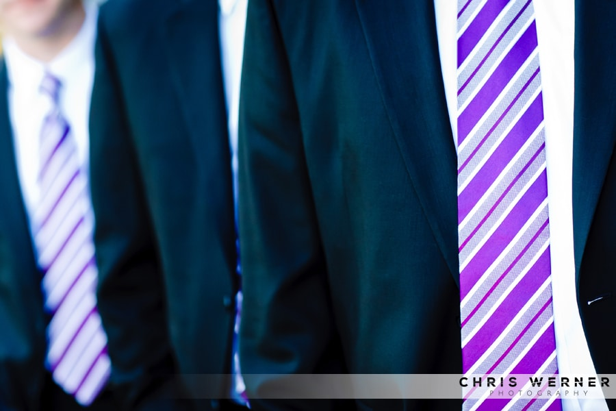 Purple striped tie and wedding suits