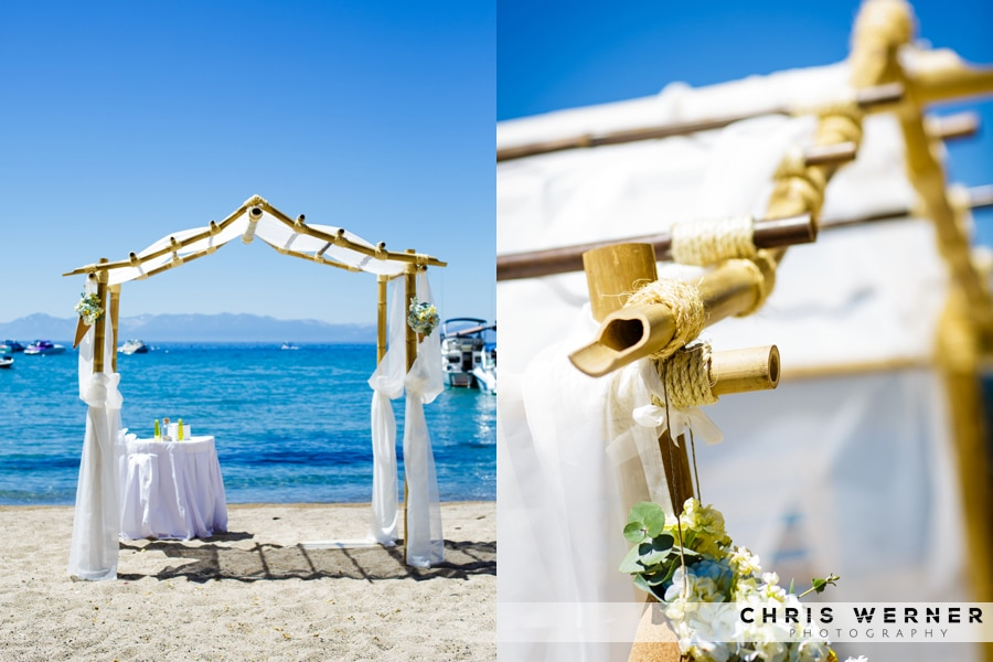 Tropical beach chuppah Wedding Ceremony Flowers.