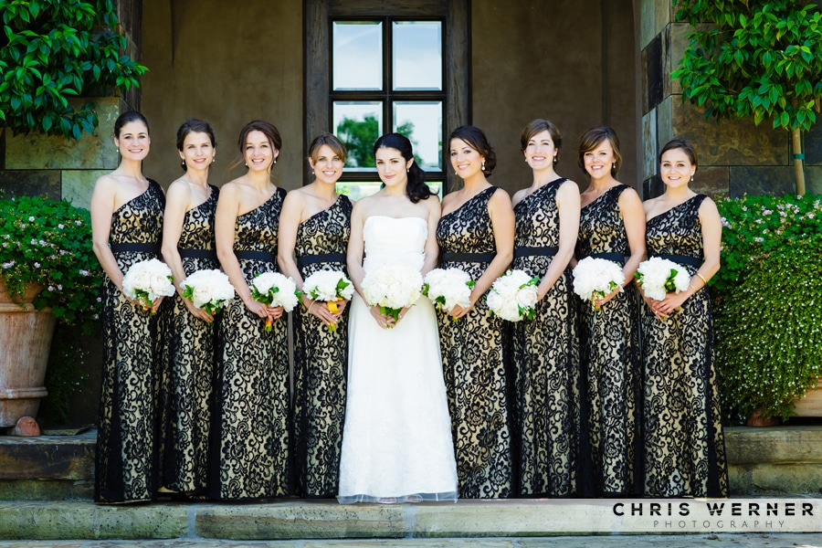 Gold bridesmaid dresses from a Napa Valley wedding.