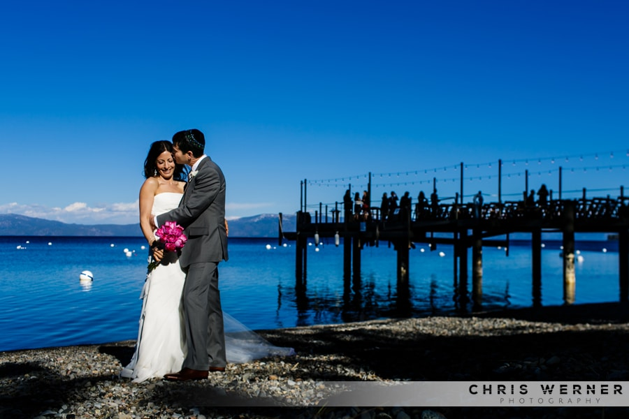 Lake Tahoe West Shore Cafe Wedding photo of bride and groom.