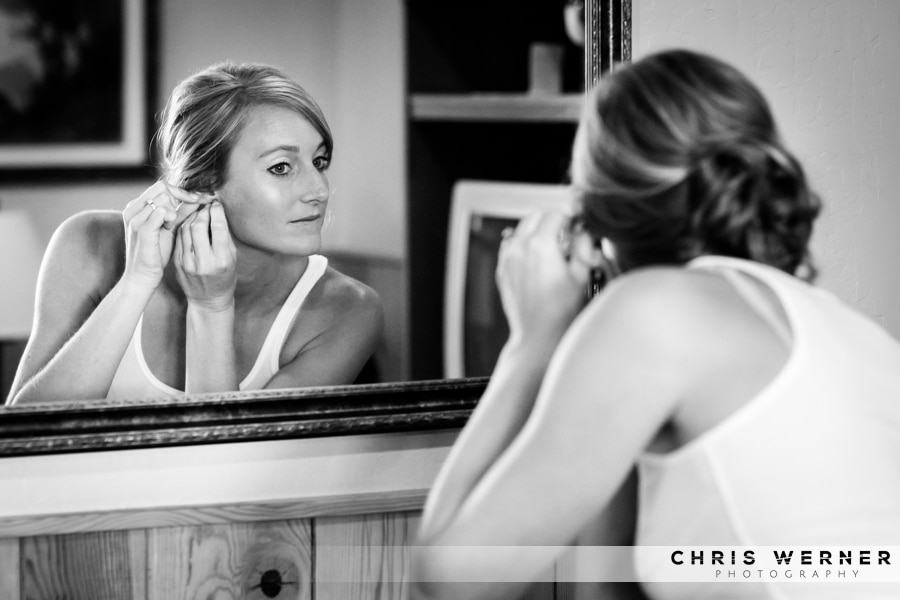Black and white photos of the bride getting ready at a Tahoe South Lake wedding