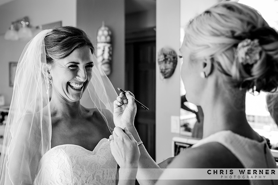 Candid wedding photograph of bride from a Lake Tahoe west shore wedding.