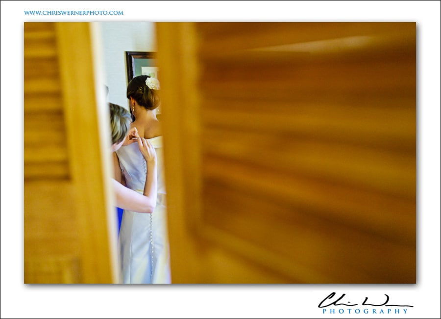Putting on the bride's dress, Yosemite Wedding Photographers.