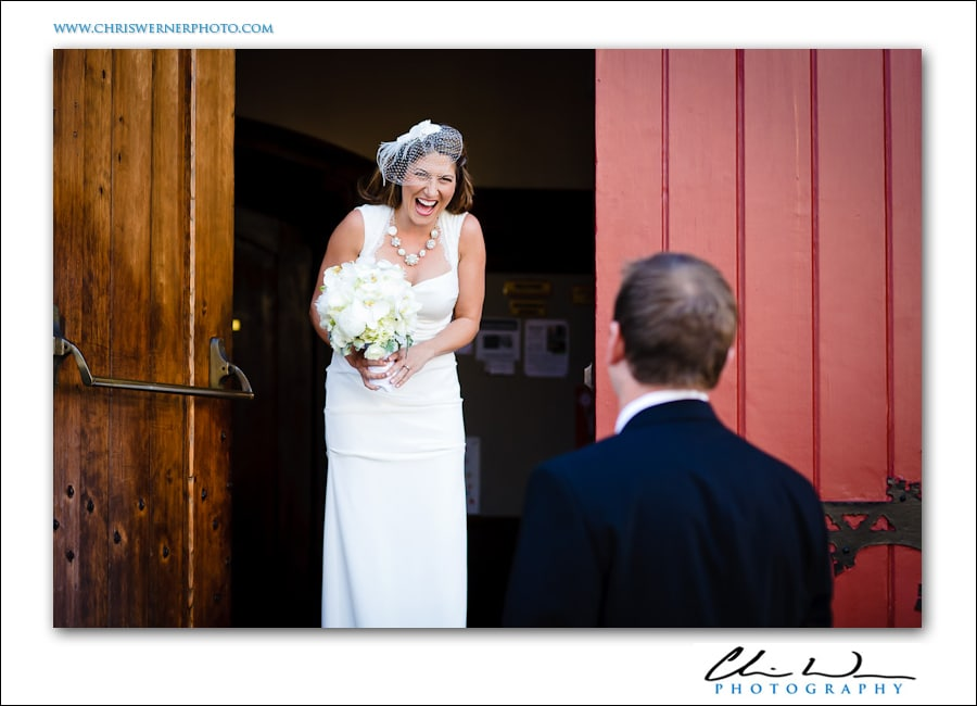 First look photograph of the bride and groom, Presidio Wedding Photography.