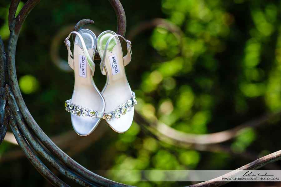 Photo of Jimmy Choo wedding shoes, Culinary Institute of America Wedding.