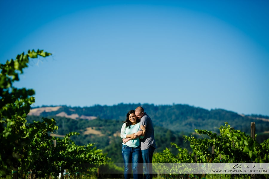 Napa Valley Engagement Photos in a vineyard.