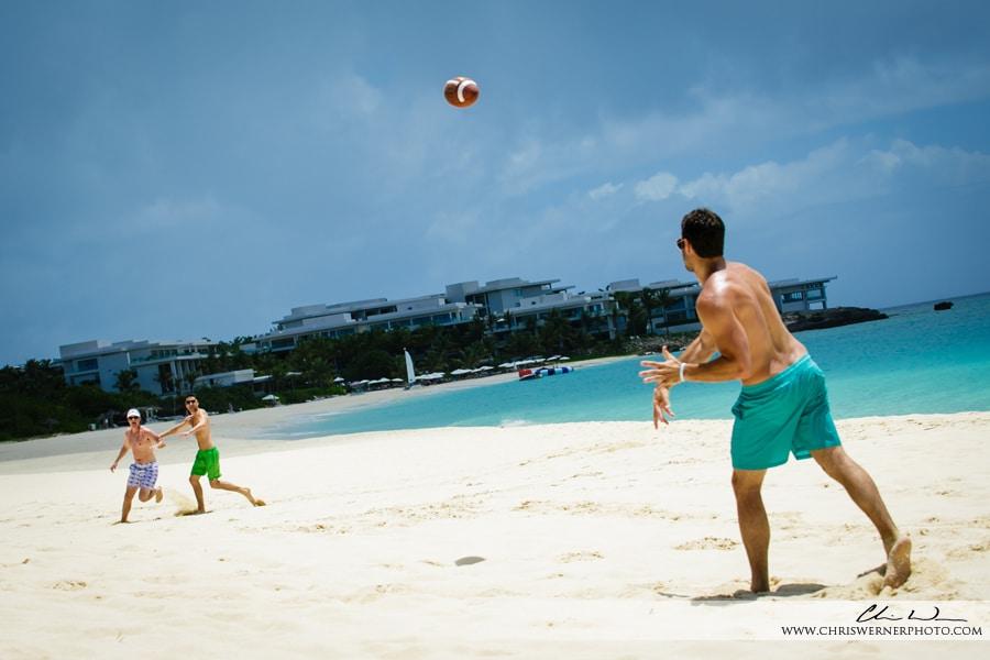 Photo of groomsmen on the beach, Anguilla wedding photos.