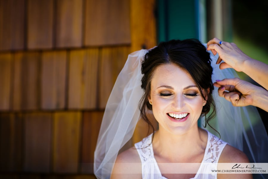 Truckee Wedding Photographer shot of bride getting ready for her wedding in Tahoe.