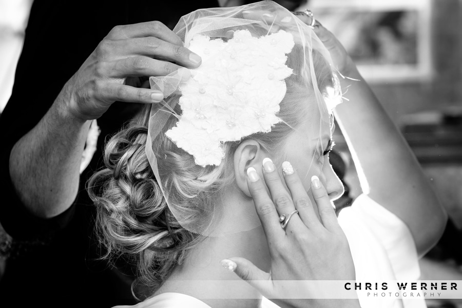 Chic vintage bridal hair net veil from a Fjeldheim Mountain Home Wedding in Lake Tahoe.