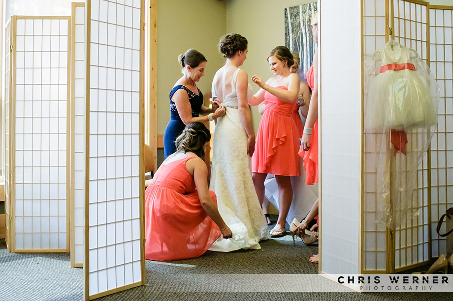 Tahoe Donner Lodge Wedding photo of the bride getting ready.